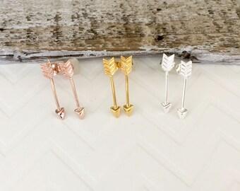 Silver Arrow Earrings, Gold Arrow Earrings, Rose Gold Arrow Earrings, Stand Tall, Arrow Stud Earrings, Pink Arrow Earrings