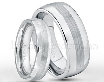 Tungsten Wedding Band Set, 6mm & 8mm Classic Dome Tungsten Carbide Wedding Rings, Bride and Groom Ring, Matching Anniversary Rings TN006-022