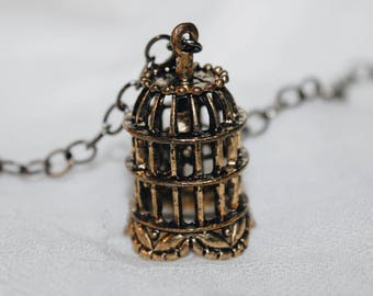 Retro Vintage long necklace Copper and gold | Bird cage
