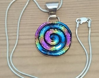 Vintage sterling silver and murano rainbow glass swirl pendant and chain
