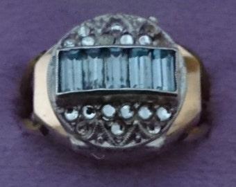 Vintage rhinestone rolled gold potens prima ring watch