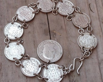 Vintage 1930s-40s silver coin bracelet
