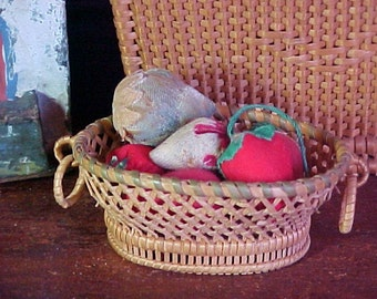 Antique Miniature Basket with  Strawberry Pin Cushions, Emery, Doll Sized Basket of Fruit