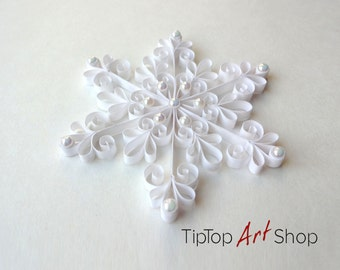 White Quilled Christmas Snowflake Ornament with Pearls; Winter Decoration; Christmas gift