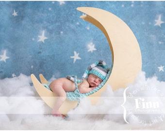 Newborn Elf Hat - Boy Newborn Hat - Long Tailed Baby Elf Hat - Grey Aqua White - Photo Prop Hat - Newborn Hat Boy