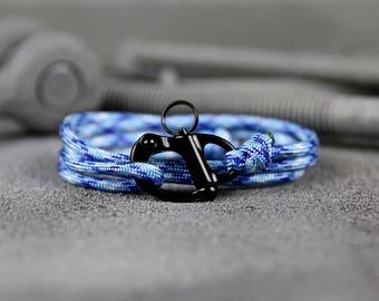 The Adventure Bracelet (Ice Blue Paracord - Black Shackle) - paracord bracelet for men - parachute cord bracelet - skydive shackle