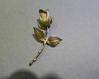 Beautiful Vintage Giovanni Silver-Tone Rose Pin / Circa 1970s / Signed