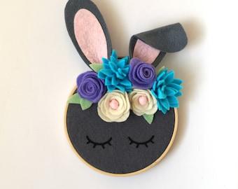 Sleepy Rabbit Animal Embroidery Hoop Art Decor with Handmade Felt Flower Crown Ready to Ship