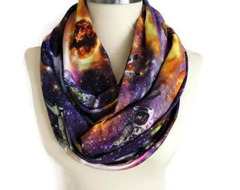 Galaxy Scarf Space Scarf Milky Way, Jersey Infinity Scarf Lightweight Cosmo Galaxy, Loop Scarf Fashion Scarf Women Fashion Accessory