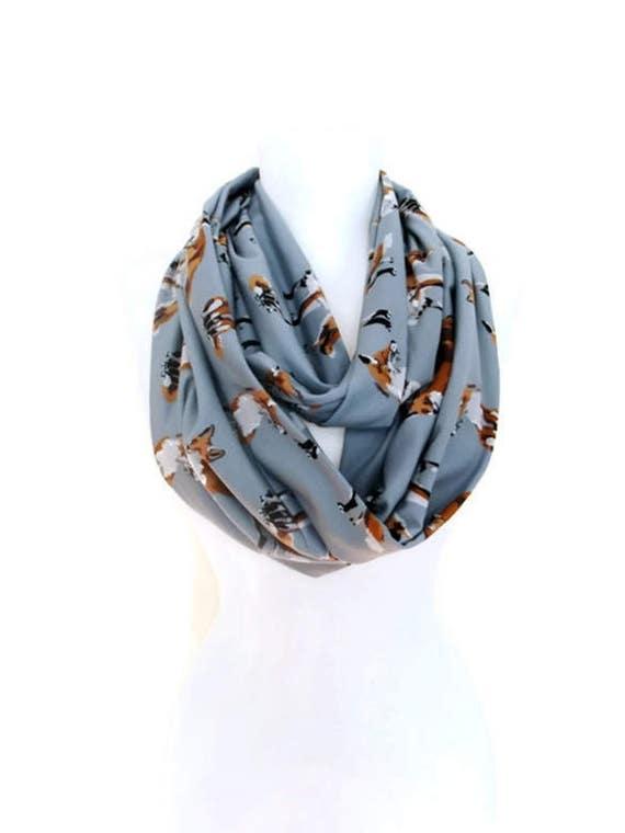 fox scarf fox infinity scarf gray infinity scarf fox scarf