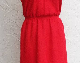 Adorable Vintage Sleeveless Red Dress by Leslie Fay