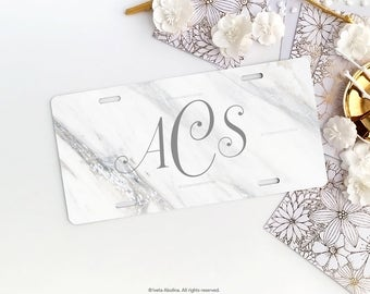 Marble Personalized Car License Plate Monogrammed White Marble License Plate Frame Car Plate Frame Individualized Car License Plate 12.