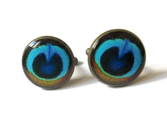 Cufflinks, Peacock Cufflinks, Feather Cufflinks, Wedding Cufflinks, Gift for men Cufflinks, Peacock Cuff Links, Groom Cufflinks,