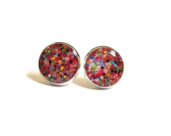 RAINBOW GLITTER - Glitter earrings - glitter stud earrings - colorful glitter - druzy - sparkly jewelry - resin - glitter jewelry - sparkle