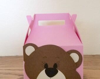 Small Teddy Bear Gable Box, Baby Shower Favor Box, Gift Box for Baby