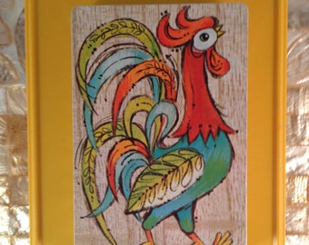 Vintage FOLK ART ROOSTER Playing Cards, Full Single Deck Folksy Colorful Cards