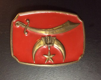 Vintage SHRINERS FREE MASON Belt Buckle Red Crescent Moon Sword