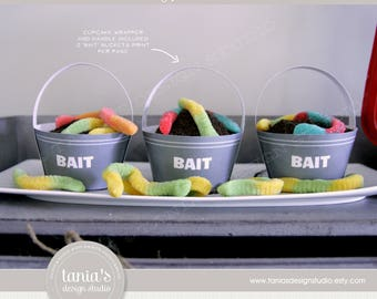 Gone Fishing - The Big One - Bait Bucket Cupcake Wrappers - Birthday - Instant Download - by Tania's Design Studio