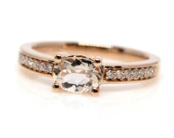 Genuine Morganite and Diamonds 14k Rose Gold 1/10 btw Ring