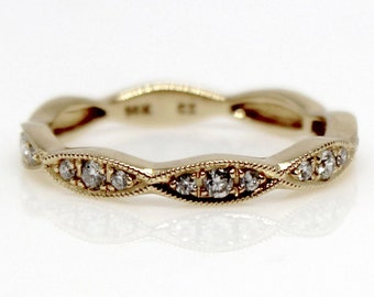 14k Rose or Yellow Gold diamond band wedding geometrical fashion