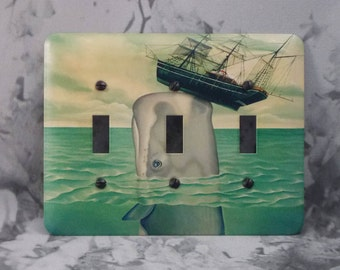 Metal Whale Triple Toggle Light Switch Covers - Whale and Ship - 3T 3 toggle