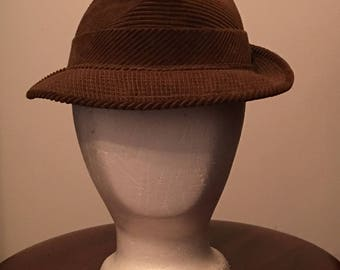 Vintage Brown Corduroy Fedora size 7 1/8 from United Hatters Cap and Millinery