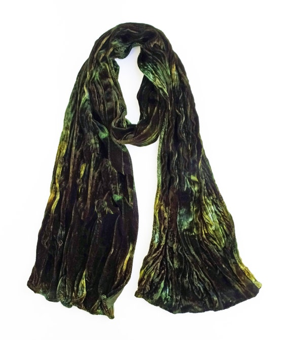 """Green velvet scarf - crinkle scarf - silk blend velvet - winter scarf - hand dyed - green, brown, gold - earth tone - 13""""x59"""""""