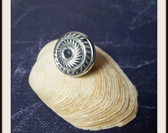 Blue denim and silver carved ring / large ring / adjustable ring