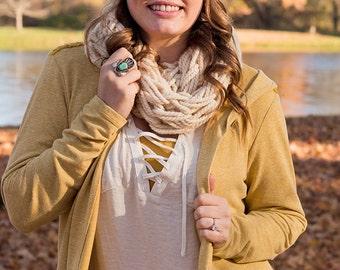White Infinity Scarf - Chunky Scarf - Knit Infinity Scarf - Spring Scarf - Chunky Infinity Scarf - White Chunky Scarf - Chunky Knit Scarf