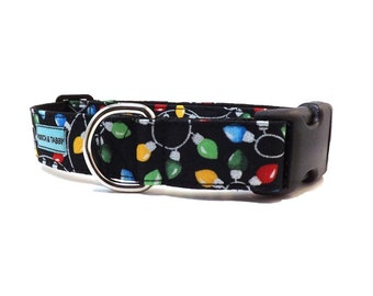 Christmas Lights Dog Collar | Available in 4 widths | Christmas & Winter Holiday Collar