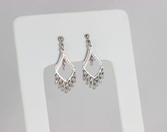10k White Gold Dangle Drop Earrings Small Chandelier Style