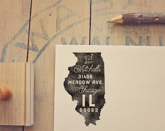 Illinois Return Address State Stamp - Personalized Rubber Stamp