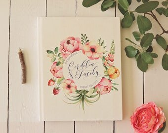 Floral Wedding Guest Book • Whimsical Wreath and Calligraphy Personalized Guestbook for a Garden Wedding • 8 x 10