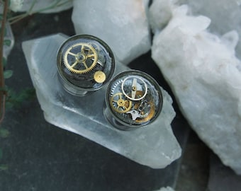 """Steampunk Gear/Cog Plugs/Gauges for Stretched Ear lobes One of A Kind 14MM 9/16"""" Curiosity"""