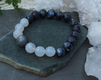Gemstone Rainbow Labradorite Rose Quartz and Druzy Stretch Bracelet Stackable
