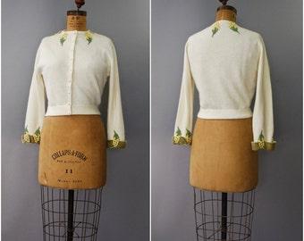 1950's I Magnin cream embroidered cardigan • medium