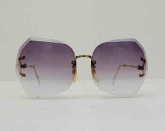 Funky Oversized Frameless Sunglasses with Lavender Lenses; Purple; Silver Arms; FREE SHIPPING