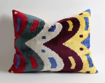 Soft handwoven hand dyed 16x20 silk velvet ikat pillow cover