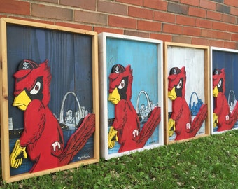 Reclaimed Wood St. Louis Cardinals Baseball Sign / Angry Birds / Fred Bird / Baseball Decor / Cardinals Sign / Vintage Cardinals Art