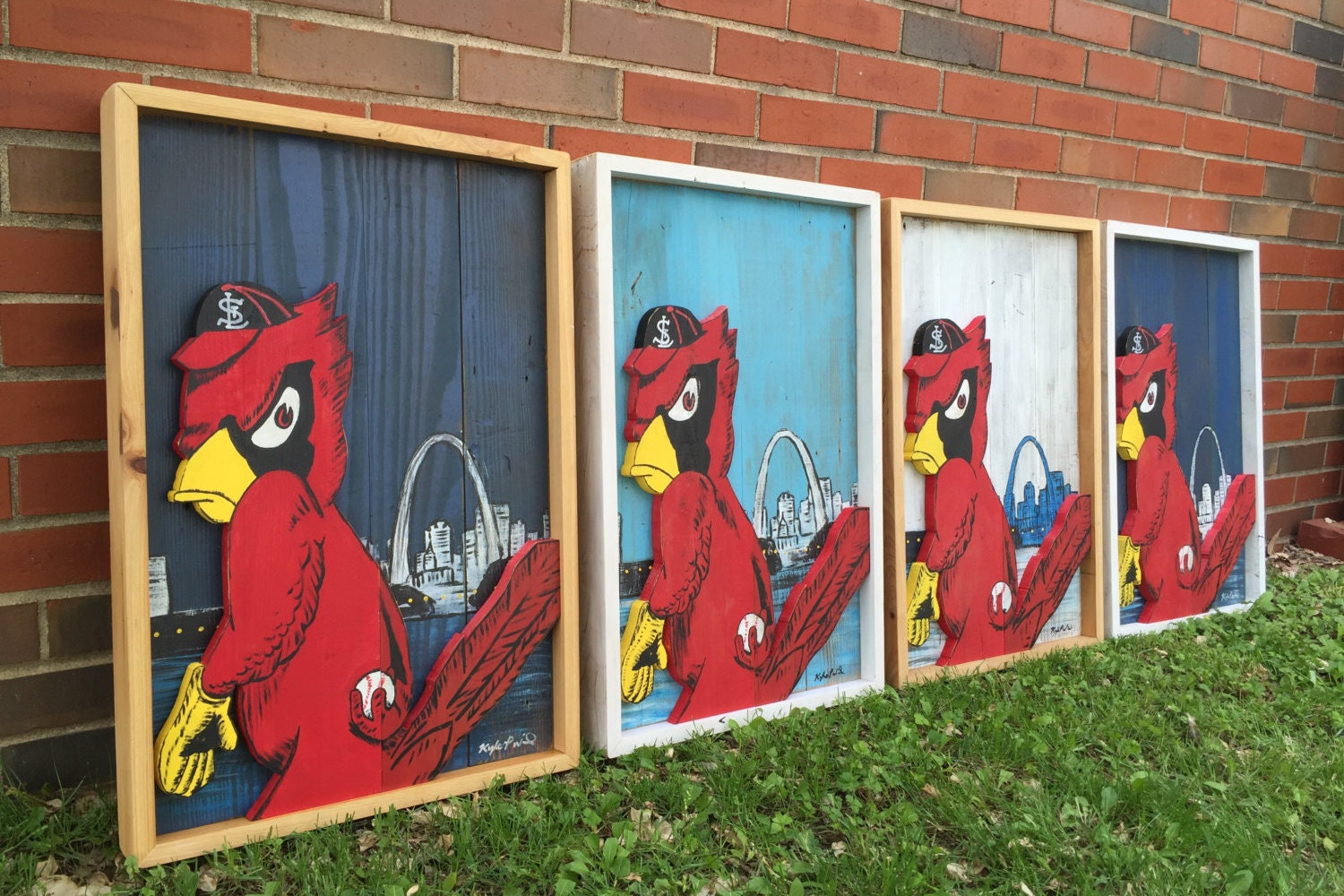 🔎zoom - Reclaimed Wood St. Louis Cardinals Baseball Sign / Angry Birds