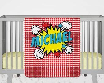 Superhero Bedding, Personalized Superhero Blanket, Superhero Baby Shower Gift, Superhero Bedroom Decor, Custom Baby Blanket, Comic Book