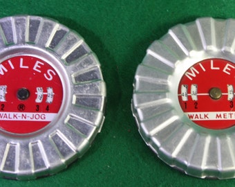 Pair of vintage  Pedometers - Walk Meter / Walk n jog - Hong Kong. exercise, fitness, runners, joggers, walkers