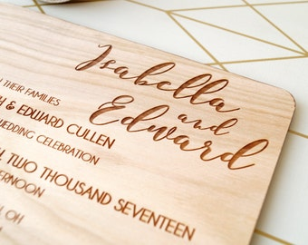 Rustic wedding invitation, wooden wedding invitation, real wood wedding invite, laser engraved invitation, your choice of wood, set of 10