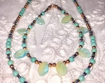 Dainty Jewelry Set SomethingXquisite Jewelry Beaded Jewelry Vintage Glass Necklace Minimalist Jewelry Set Women's Jewelry HandMade Gift Set