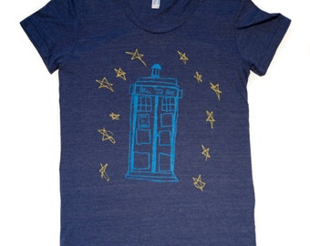 Tardis-T-Shirt-Womens-American Apparel-This style runs small-Tardis-Dr Who-Dr. Who-The Doctor
