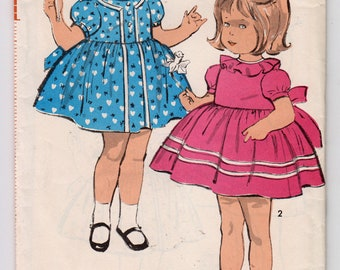 1960s Advance 2985 Toddlers Dress With Collar Variations, Puffed Sleeves, Back Sash Tie, And Gathered Skirt - Size 1 Child - Vintage Pattern