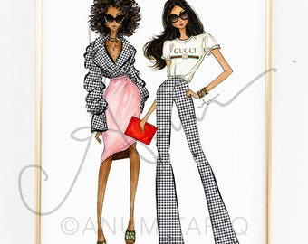Fashion Illustration Print, Gingham Girls