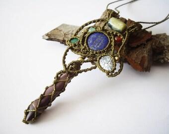 Macrame necklace, Serpentine pendant, Echinus spine necklace, Lapislazuli jewelry, energetic stones, Talisman,Spiritual Jewelry,unique piece