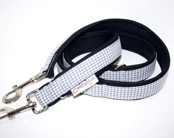 Dog leash Adjustable padded with neoprene, little body grey white