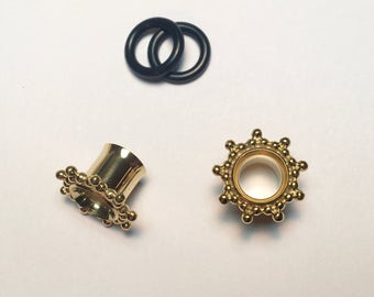 Shiny Gold Plugs/ Gauged Earrings